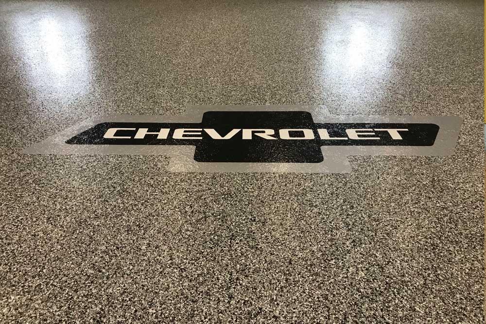 Chevrolet Logo on Garage Floor Winnipeg